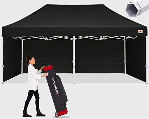 ABCCANOPY Premium Canopy 10x20 Pop Up Commercial Canopy Tent with Side Walls Instant Shade, Bonus Upgrade Roller Bag, 6 Weight Bags, Stakes and Ropes, Black