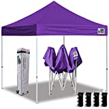 Eurmax 10'x10' Ez Pop Up Canopy Tent Commercial Instant Canopies with Heavy Duty Roller Bag,Bonus 4 Sand Weights Bags(Purple)