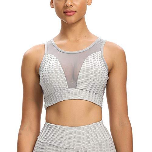 Koitniecer Tanques de Entrenamiento recortados para Mujer Sujetador Deportivo con Espalda de Malla t Camisa de Gimnasio con Textura Tops de Yoga Activewear (Grey, L)