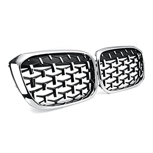 XIAOJIE Piezas exteriores New Diamond Pills Meteor Style Reemplazar la parrilla de parachoques delantero del coche para BMW X3 X4 G01 G08 G02 2018-2020 Chrome Car (Color: Plata)