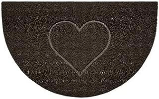 Nicoman Embossed Halfmoon Half Circle Door Mat Dirt-Trapper Jet-Washable Doormat 70x44cm (Brown, Heart Shape) - Use Indoor...