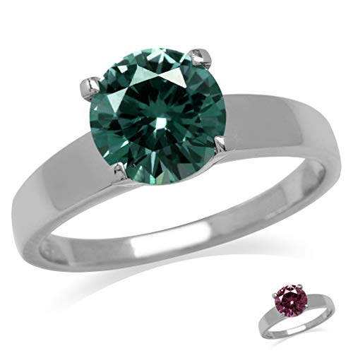 Silvershake 8mm Round Shape Simulated Color Change Alexandrite 925 Sterling Silver Solitaire Ring Size 6