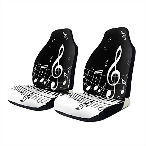 KDU Fashion Drivers Seat Covers, toetsen voor piano, noten, bescherming voor kinderzitje, autostoelhoezen voor bestuurdersstoelen, charmant, voor vrachtwagen SUV, 2 stuks
