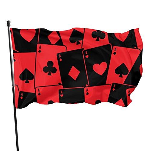 Hdadwy Bandera al Aire Libre, Bandera Decorativa roja de la Tarjeta de póker para la Fiesta en casa del Patio del jardín 3 x 5 pies