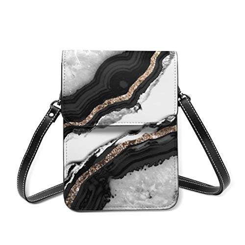 Bolsa de hombro pequeña con purpurina de ágata Glam Gem Decor Art Crossbody bolsa para teléfono móvil, monedero ligero Crossbody bolsos para mujeres y niñas