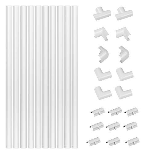 D-Line Mini Canaletas adhesivas de PVC para cables, Multipack de 10 piezas (30x15mm) de 40cm de longitud (4-metro) en color blanco - Solución para organizar, proteger y cubrir cables