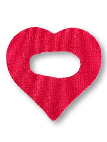 FixTape atmungsaktive Sensor-Tapes für Dexcom G6 Glukose-Sensor I selbstklebend hautfreundlich hypoallergen wasserfest I Herz-Patch in modernem Design mit sehr hohem Trage-Komfort I 7 Stück rot