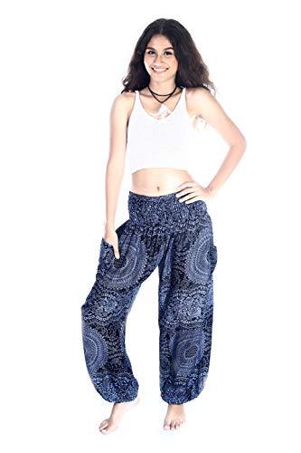 Boho Pants Harem Pants Yoga Trousers for Woman Bohemian Beach Pants (Large, Mandala Blue)