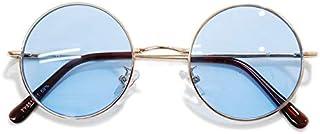 【全14色】 伊達メガネ サングラス レディース メンズ おしゃれ UVカット ボストン 丸メガネ 薄い色 ライトカラーレンズ (ONESIZE, GOLD×Lt.BLUE)