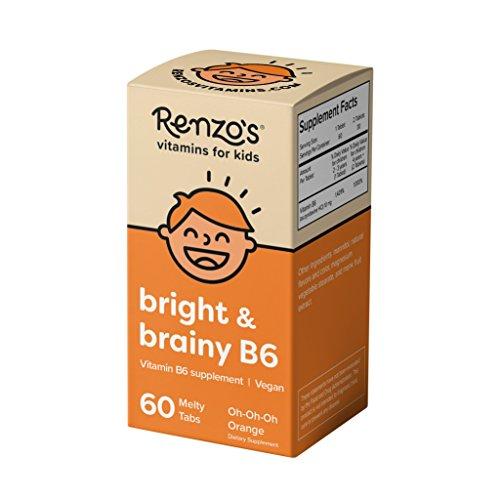 Renzo's Bright & Brainy B6, Dissolvable Vegan Vitamins for Kids, Zero Sugar, Oh-Oh-Oh Orange Flavor, 60 Melty Tabs