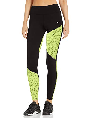 PUMA Women's Graphic Running Tights, Black-Fizzy Yellow, M