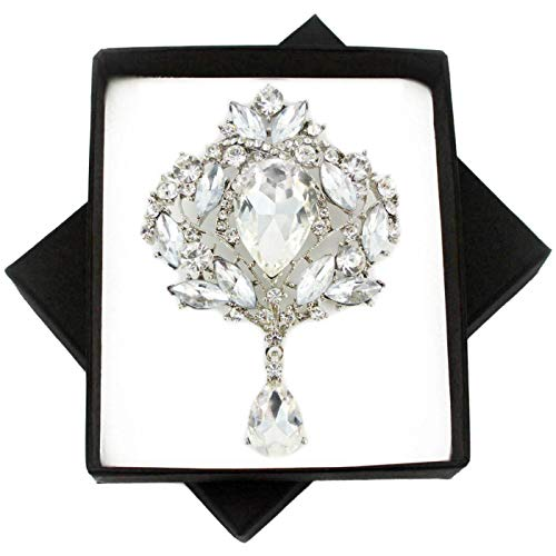 New Plain Crystal Silver Vintage Style Large Brooch PIN for Women in Black Presentation Box from UK Seller