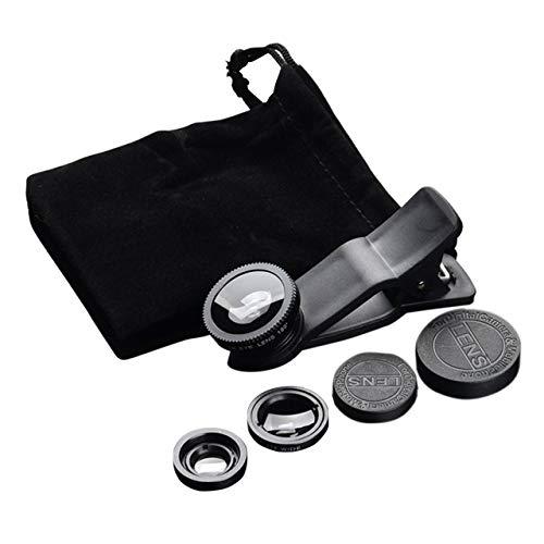 Easyeeasy Kit de Lentes de cámara para teléfono móvil, Lente Ojo de pez 2 en 1 Lente Macro y Lente súper Gran Angular con Clip Universal Negro para teléfono