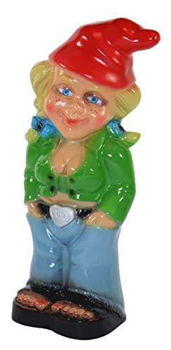 Gartenzwerg Deko Garten Figur Zwerg Zwergenfrau stehend Cool aus Kunststoff H 32 cm