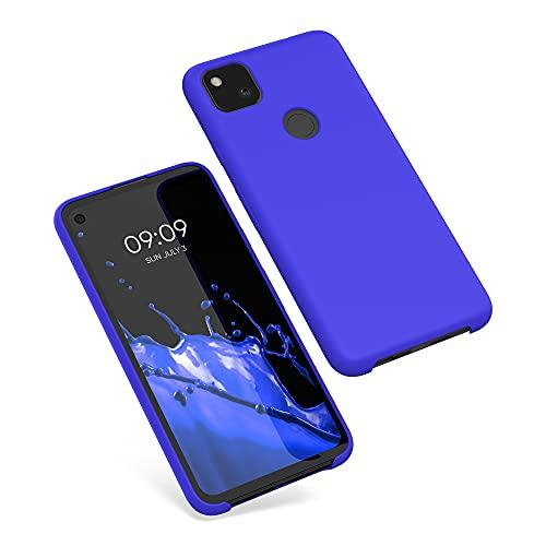 kwmobile Cover Compatibile con Google Pixel 4a - Custodia in Silicone TPU - Back Case Protezione Cellulare Blu Elettrico