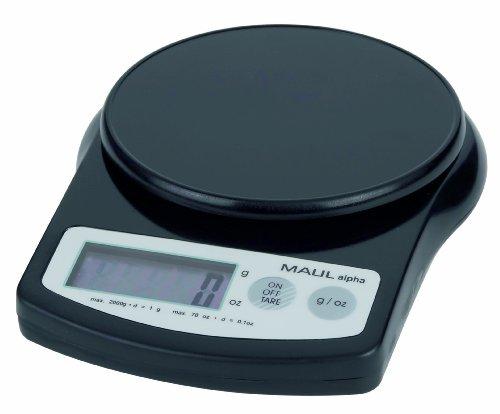 Maul 1642090 Briefwaage MAULalpha, Kunststoff, Batterie, Tragkraft 2000 g, Schwarz, 1 Stück