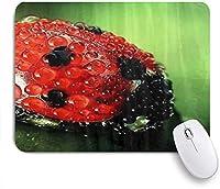 PATINISAマウスパッド 葉の上のファッションの水滴閉じるてんとう虫 ゲーミング オフィス おしゃれ 防水 耐久性が良い 滑り止めゴム底 ゲーミングなど適用 マウス 用ノートブックコンピュータマウスマット