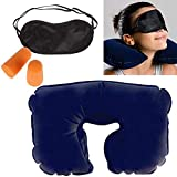 The Shipping Zone 3 in 1 Tourist Neck Travel Pillow with Cushion Car-Eye Maks Sleep Rest Shade and Ear Plug (Multi-Colour)