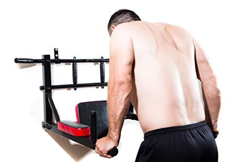 LEGEND Dip bar | Dip Ständer | Push up - Pull up - bar | Armtrainer fürs Home Gym | Kraftturm mit Klimmzugstange | Boxsackhalterung und TRX Halterung | hochwertige Polsterung | extrem stabil