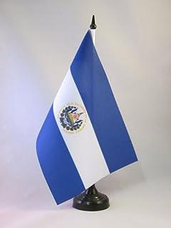 AZ FLAG El Salvador 桌旗 5 英寸 x 8 英寸 - 沙拉维多利亚桌旗 21 x 14 厘米 - 黑色塑料棒底座