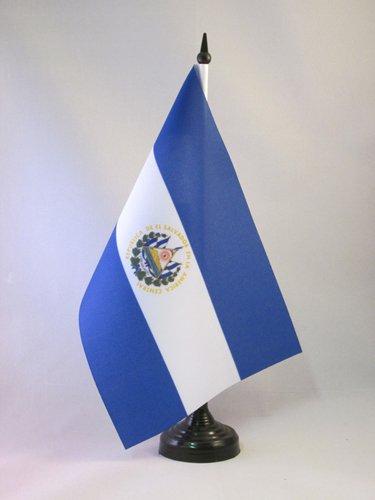 AZ FLAG TISCHFLAGGE EL Salvador 21x14cm - SALVADORIANISCHE TISCHFAHNE 14 x 21 cm - flaggen
