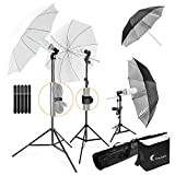 LimoStudio, 700W Output Lighting Series, LMS103, Soft Continuous Lighting Kit for White and Black Umbrella Reflector with Accessory and Carry Bag
