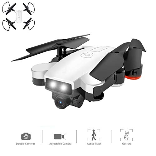 Drohnen mit Kamera WiFi FPV Vier-Achsen-Flugzeug mit 720P HD Dual Camera Live Video Folable RTF 2.4GHz 4 CH 6-Achse Gyro Automatic Follow/Gesture Photo RC Helicopter White