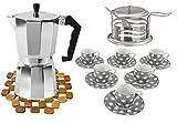 Pack de 16 PCS juego de cafe completo - 1 cafetera de 12 tazas + juego 6 tazas con platos de ceramica + 1 azucarera de...