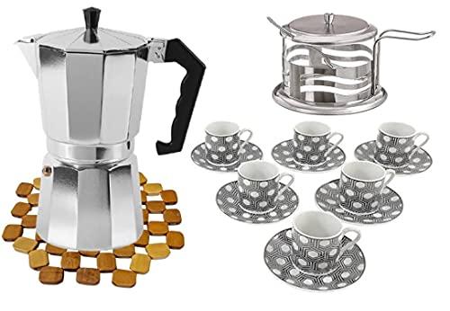 Pack de 16 PCS juego de cafe completo - 1 cafetera de 12 tazas + juego 6 tazas con platos de ceramica + 1 azucarera de cristal y metal + salvamantel de bambu