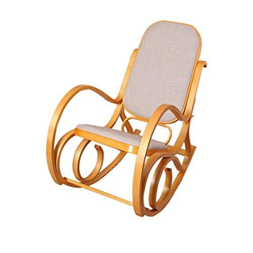 Sedia a dondolo M41 legno 90x50x90cm quercia seduta tessuto beige