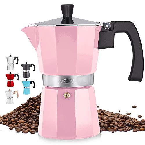 Zulay Cafetera de espresso clásica para cocina de gran sabor, fuerte y fuerte, estilo italiano clásico 5.5, para café delicioso, fácil de operar y de limpieza rápida (rosa)
