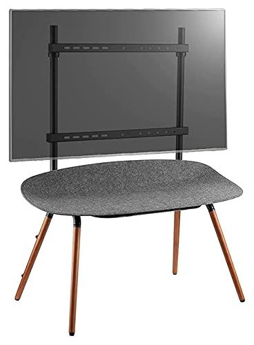 Soporte de TV de 55 a 70 pulgadas, soporte de madera para TV móvil con mesa de almacenamiento de fieltro, soporte de TV de haya alto pie (color gris)