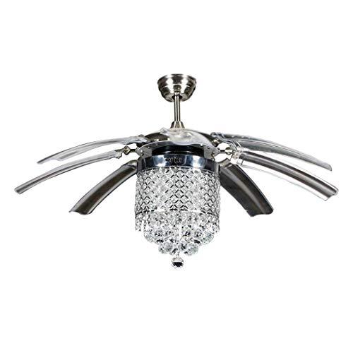 miwaimao Ventilador de luz invisible para el hogar, restaurante, sala de estar, mando a distancia, simple y moderno, lámpara LED de cristal con luz (tamaño: 120 cm)