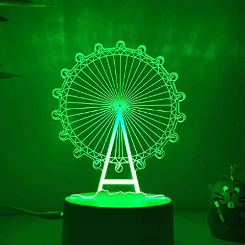 3D Ilusión óptica Lámpara LED Noria Luz de noche Deco 7 colores usb Decoracion Dormitorio escritorio mesa para niños adultos del partido cumpleaños Luces nocturnas de mesa