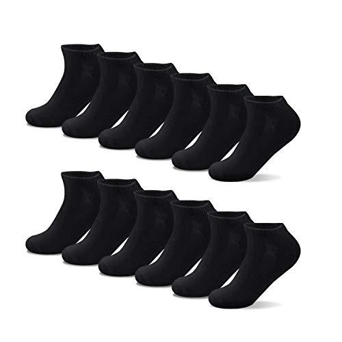 Lowbangge 12 Paar Sneaker Socken Herren Kurzsocken Unisex-Sportsocken Weich Baumwollsocken Damen Socken für Sport und Freizeit,12 x Schwarz,43-46