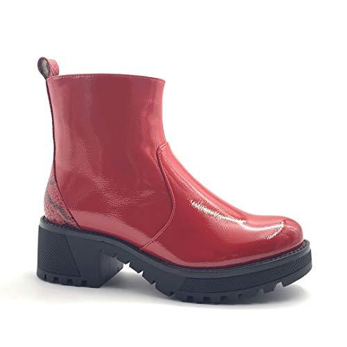 Angkorly - Damskie buty botki - Biker - Biker - Glam Rock - Lakierowane - efekt skóry pithonowej - Nadruk zwierzęcy Animal-Print Obcas blokowy High Heel 6 cm, czerwony - czerwony - 36 EU