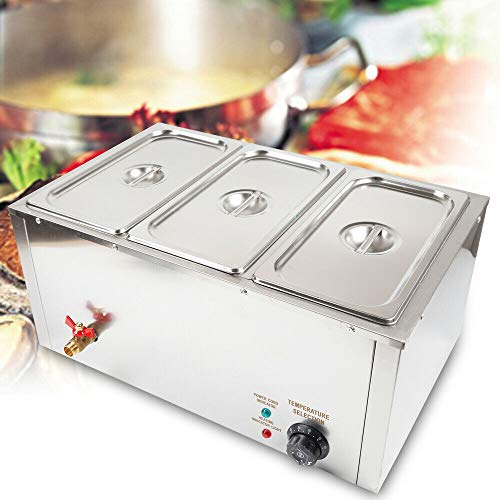 TFCFL Bain marie commercial, Bain Marie Chauffe-plats Buffet 3 Pan Gastro en acier inoxydable, 30-85 °C