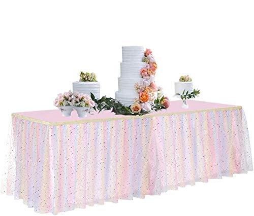 Tutu Tischrock 2,7 m für runde Retangle Tisch verstellbar Tüll Tischrock für Geburtstag Babyparty Abschlussfeier Hochzeit Jahrestag Picknick Freunde oder Familie Party Dekoration Pastel Stern