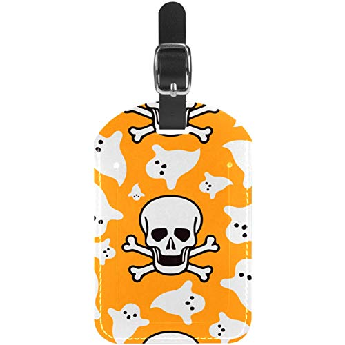 Skull Orange Halloween Travel Leather Luggage Tags Personalised for Suitcases Funny Mini Baggage tag Business Card Holder/Travel Bag Tag 2.8x4.5in
