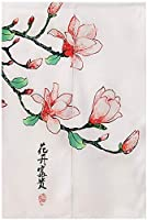 SPXUBZ和風戸口カーテン富と幸運の花中国のれんドアカーテンタペストリー室内装飾用仕切り