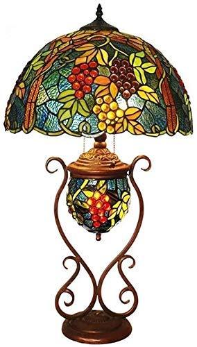 AWCVB Tiffany Style Madre Y Niño Lámpara De Mesa Tricolor Uvas Arte Sala De Estar Mesa De Noche Iluminación Decoración