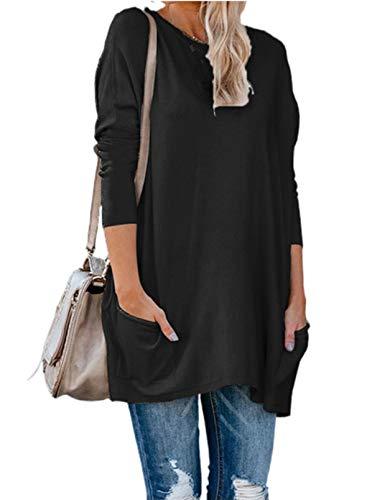 CORAFRITZ Moda de mujer color sólido túnica superior cuello redondo manga larga bolsillos laterales Casual más tamaño jersey sudaderas