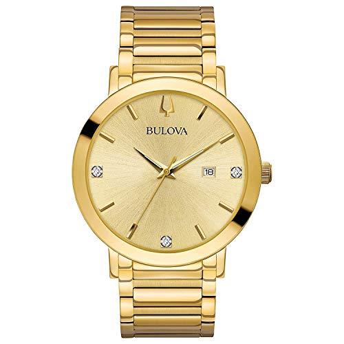 Bulova Modern Quartz Mens Watch, Stainless Steel Diamond, Gold-Tone (Model: 97D115)