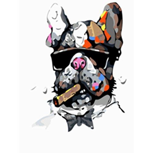 KAYI Cool Dog avec lunettes Peinture à l'huile par numéros Kit - Kits de peinture à l'huile pour enfants, Junior, Kids - Artisanat à la main Peinture Décor à domicile