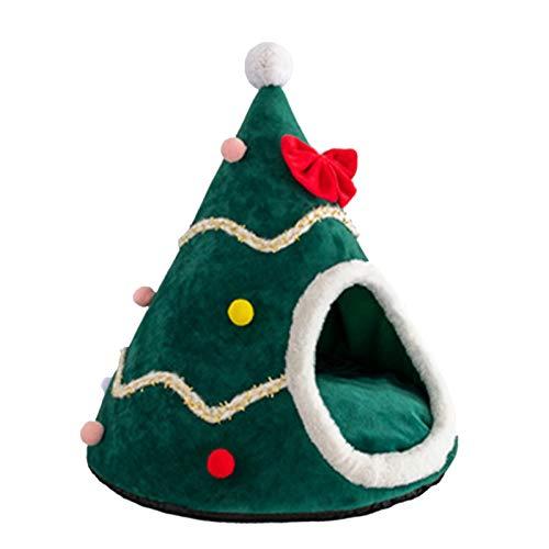 Noband Tienda de campaña de árbol de Navidad para gatos de felpa, cama cálida de invierno, nido de gato, alfombrilla lavable para perrera, cojín para cama de perro JSFGFSDH