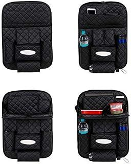Autofurnish 7D Premium Car Auto Seat Back Multi Pocket Dual USB Charger Storage Bag Organizer with Car Meal Tray-(Black)-Set of 2