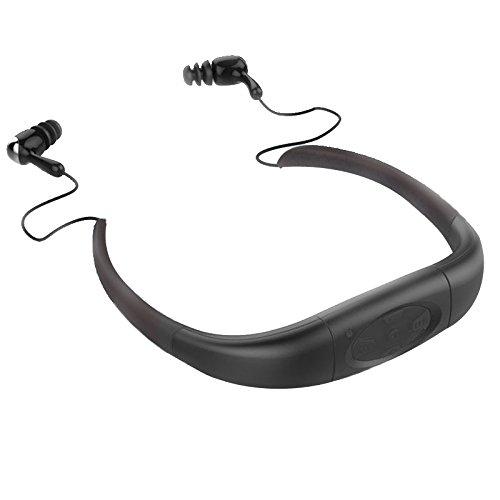 IPX8 impermeabile Hi-Fi stereo MP3 Music Player auricolare 8GB di memoria Sporting auricolare con radio FM e batteria ricaricabile per il nuoto, immersioni, surf