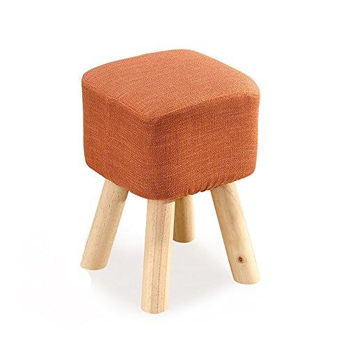 LJHA Tabouret pliable Repose-pieds en bois massif/tabouret de chaussure salon créatif/tabouret canapé en tissu 5 couleurs disponibles chaise patchwork (Couleur : Orange)