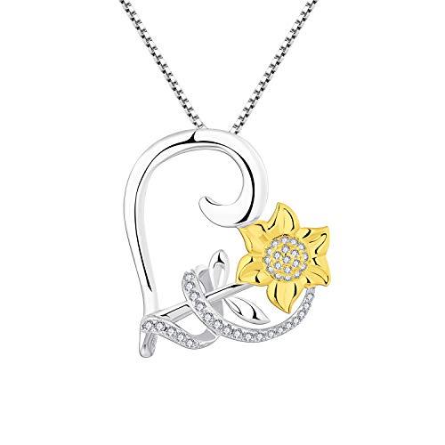 starchenie 18K Oro Collar de Girasol Plata de Ley 925 Colgante de Corazón para Mujer