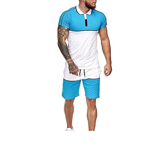 Correr Shirt Hombre Moderno Cuello Redondo Ajustado Elástico Hombre Muscular Shirt Verano Empalme Moda Coincidencia Color Hombre Manga Corta Set Aire Libre Casual Sport Shirt I-Blue White XL